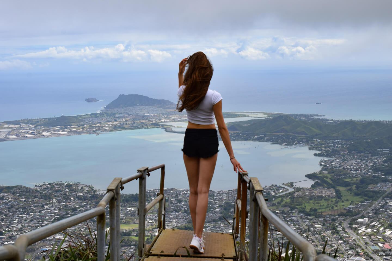overlooking Oahu, Hawaii from the haiku stairs