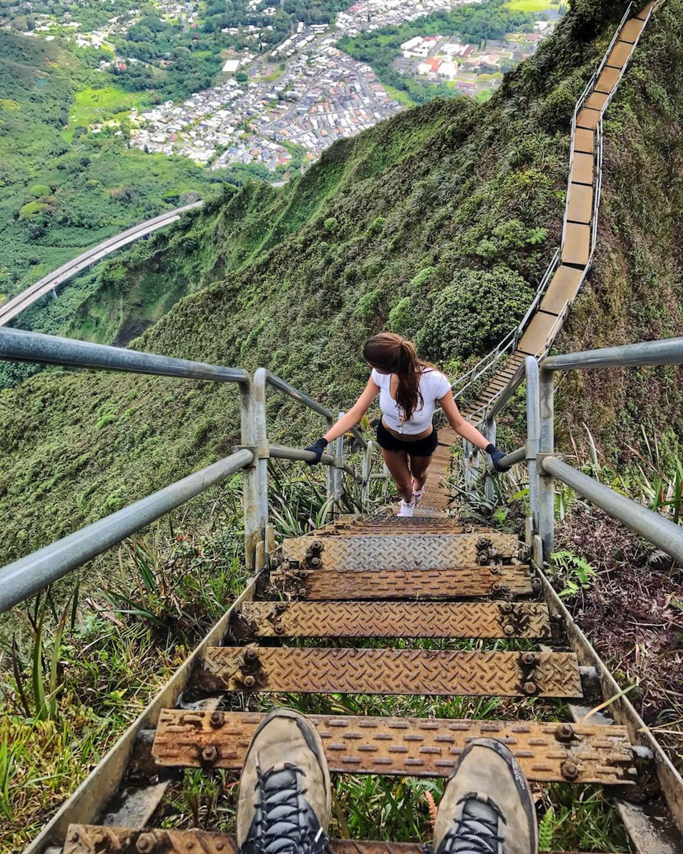 steep metal stairs of haiku hike Oahu