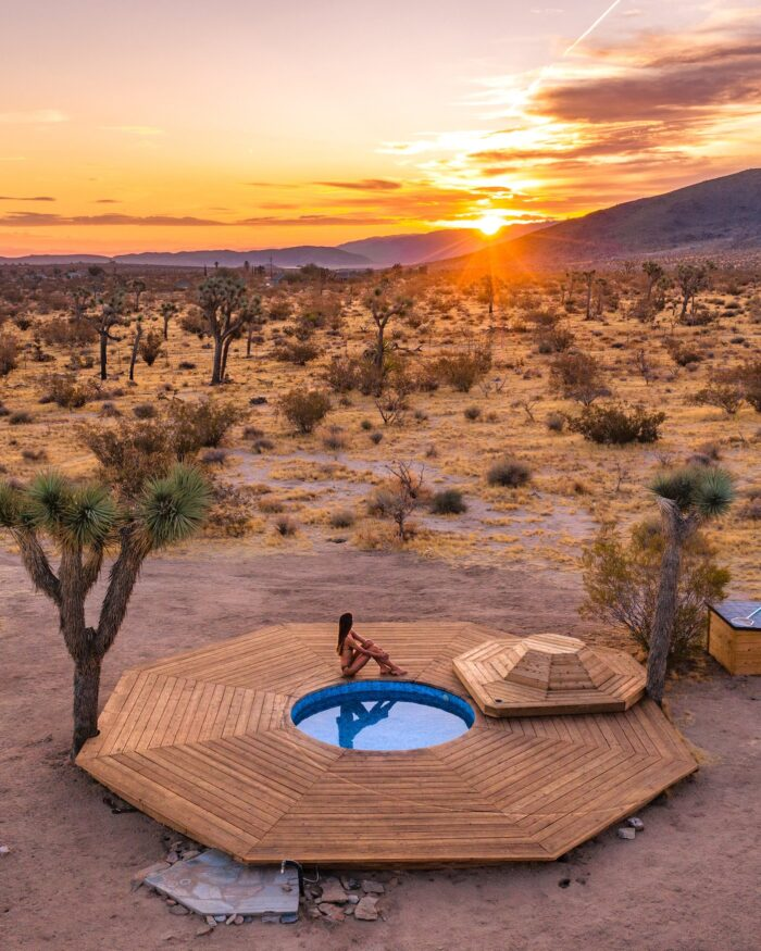sunrise at pool in joshua tree