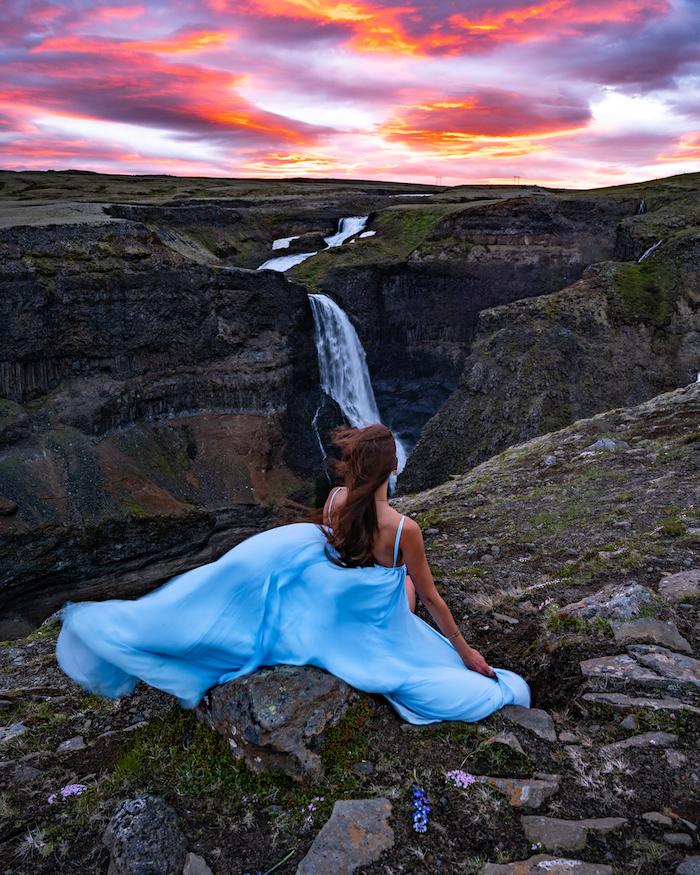 Island Highlights Háifoss waterfall sunset