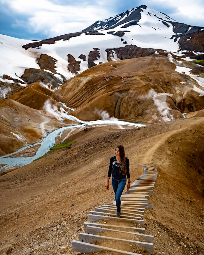 walking up the steps at Kerlingarfjöll in the highlands of iceland