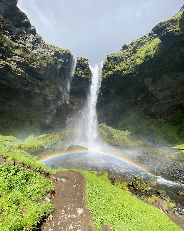 kvernufoss waterfall with rainbow best things to do in Iceland