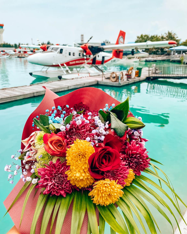 Flower bouquet sea plane
