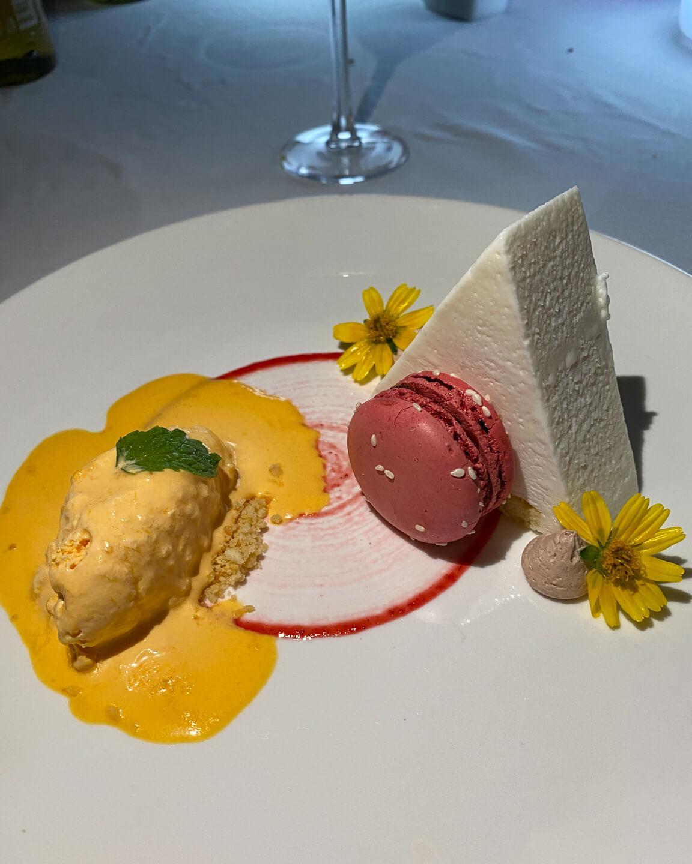 Dessert with Macaron and Sorbet at the Mercure Maldives Kooddoo