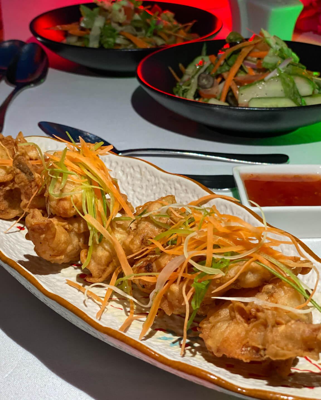 Fried Shrimps and Salad at the Mercure Maldives Kooddoo