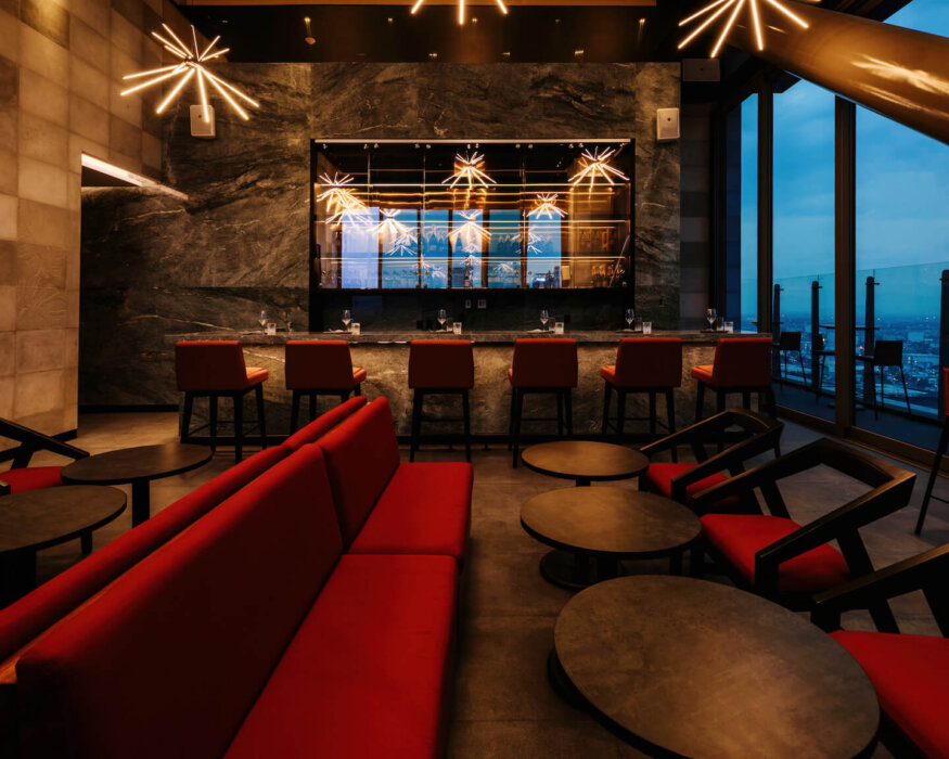 rooftop bar with an elegant interior