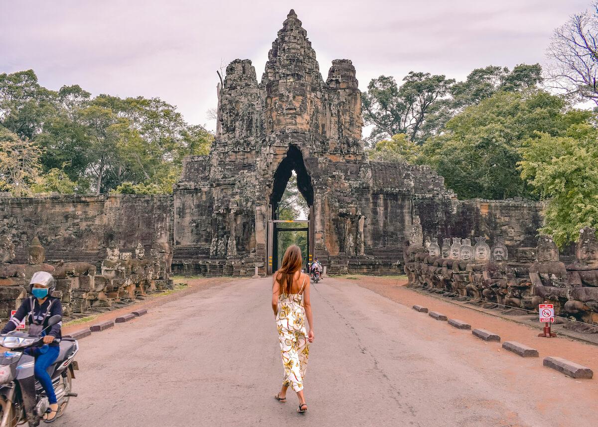 Walking through south gate Angkor