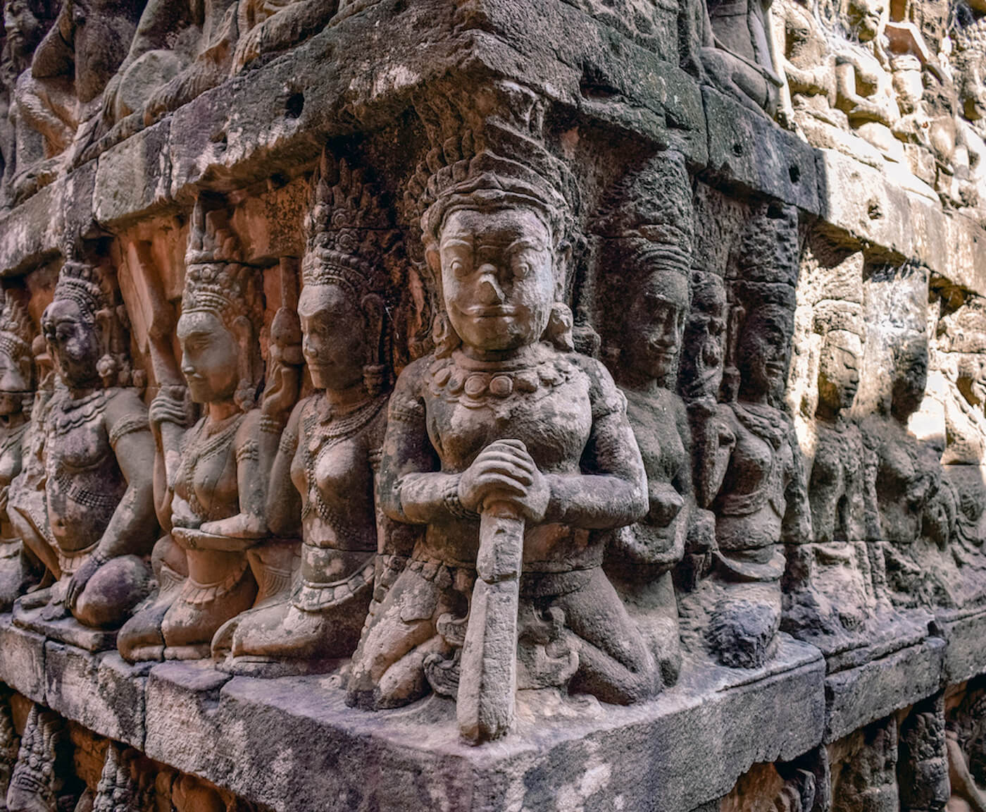 engraved figures in stone temple