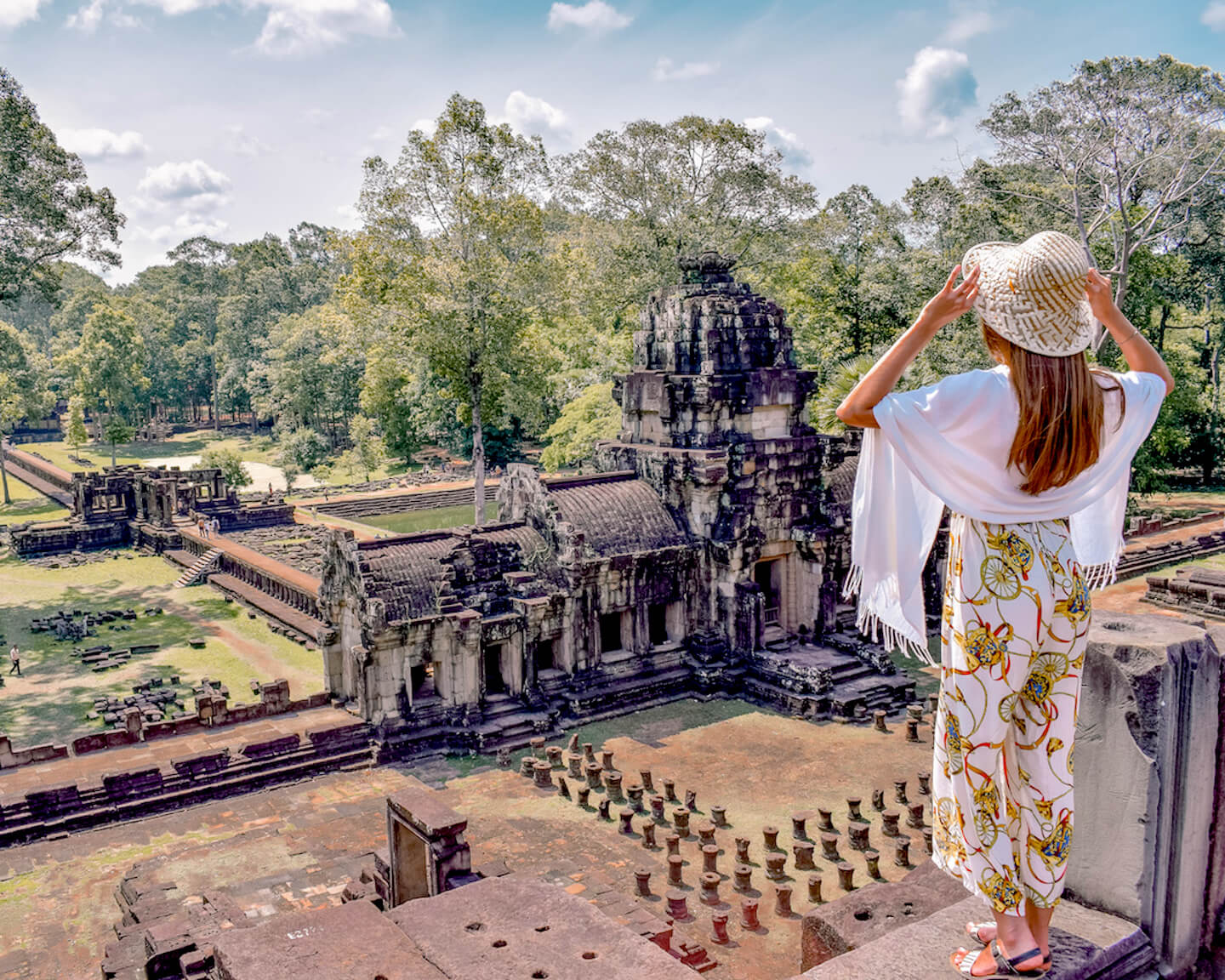 overlooking the area of Angkor from the top of a temple