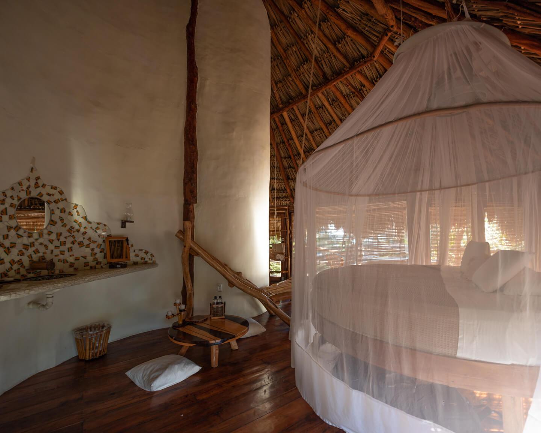 bedroom in Jungle Villa at the azulik Tulum review