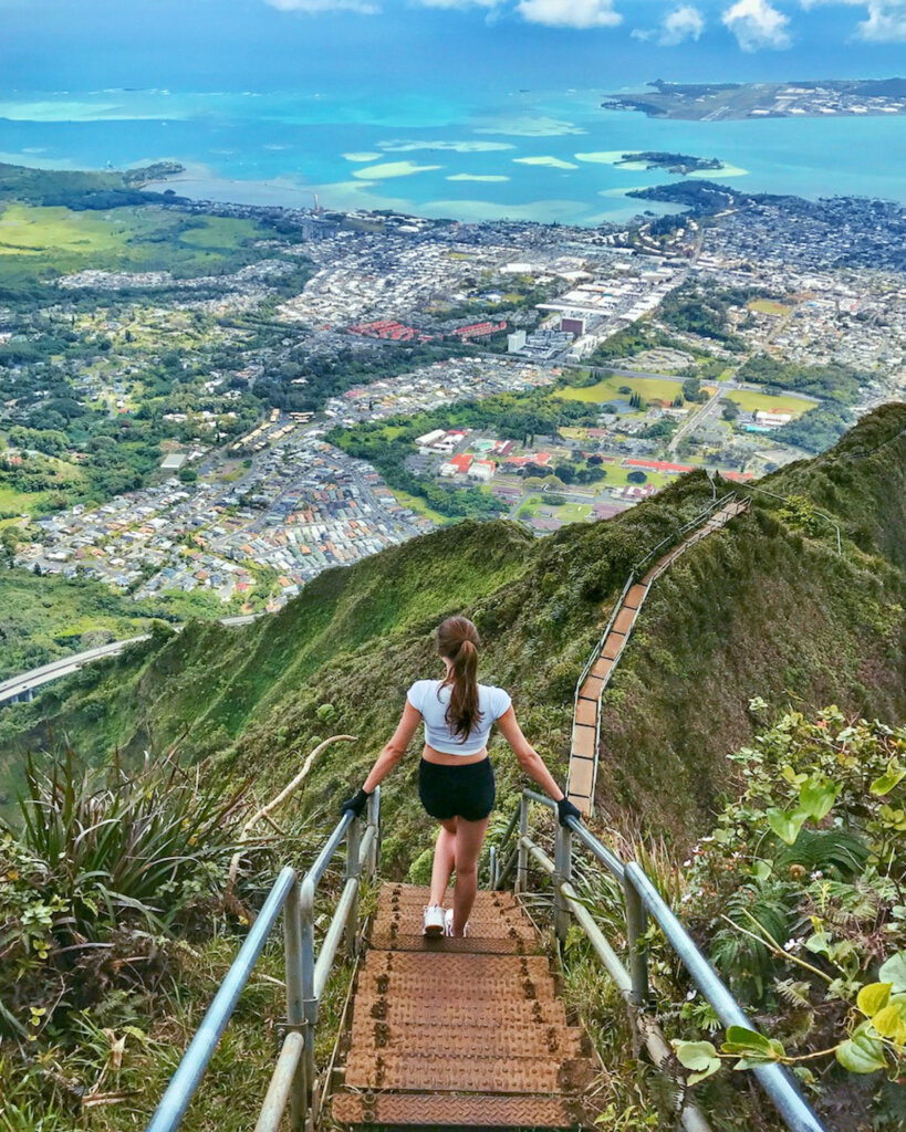 overlooking Oahu, Hawaii from the haiku stairs