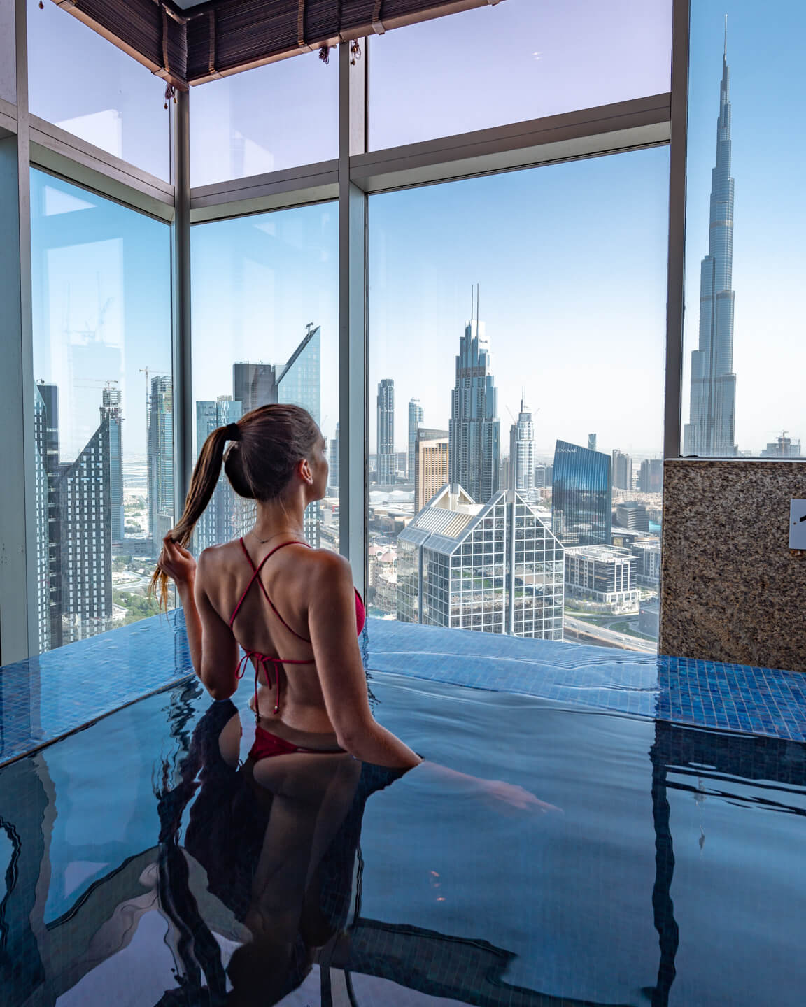 view from the indoor pool of the Shangri-la dubai