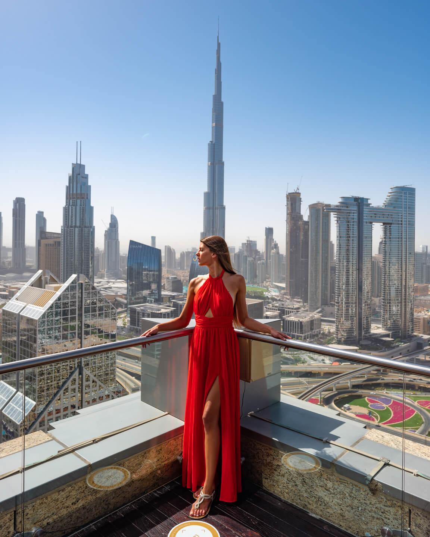 view from the Shangri-la dubai overlooking the Burj Khalifa