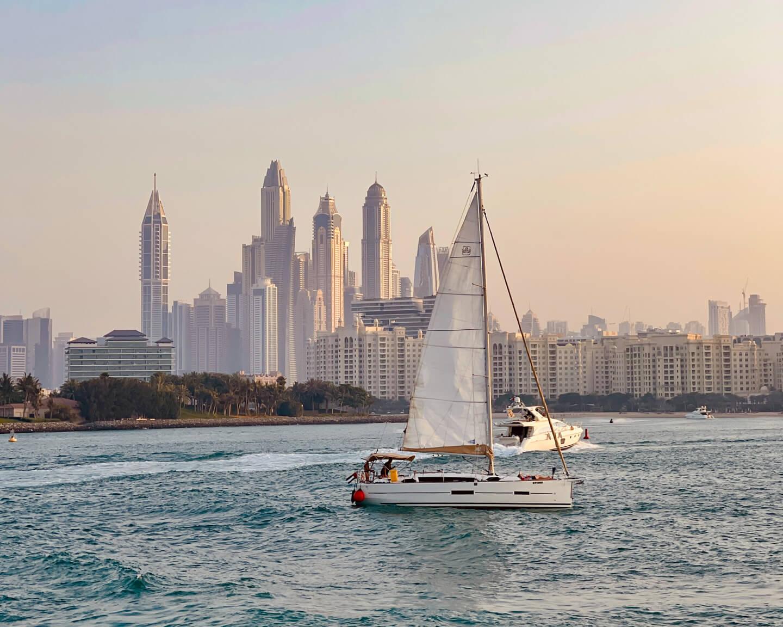 Dubai Marina view with boat