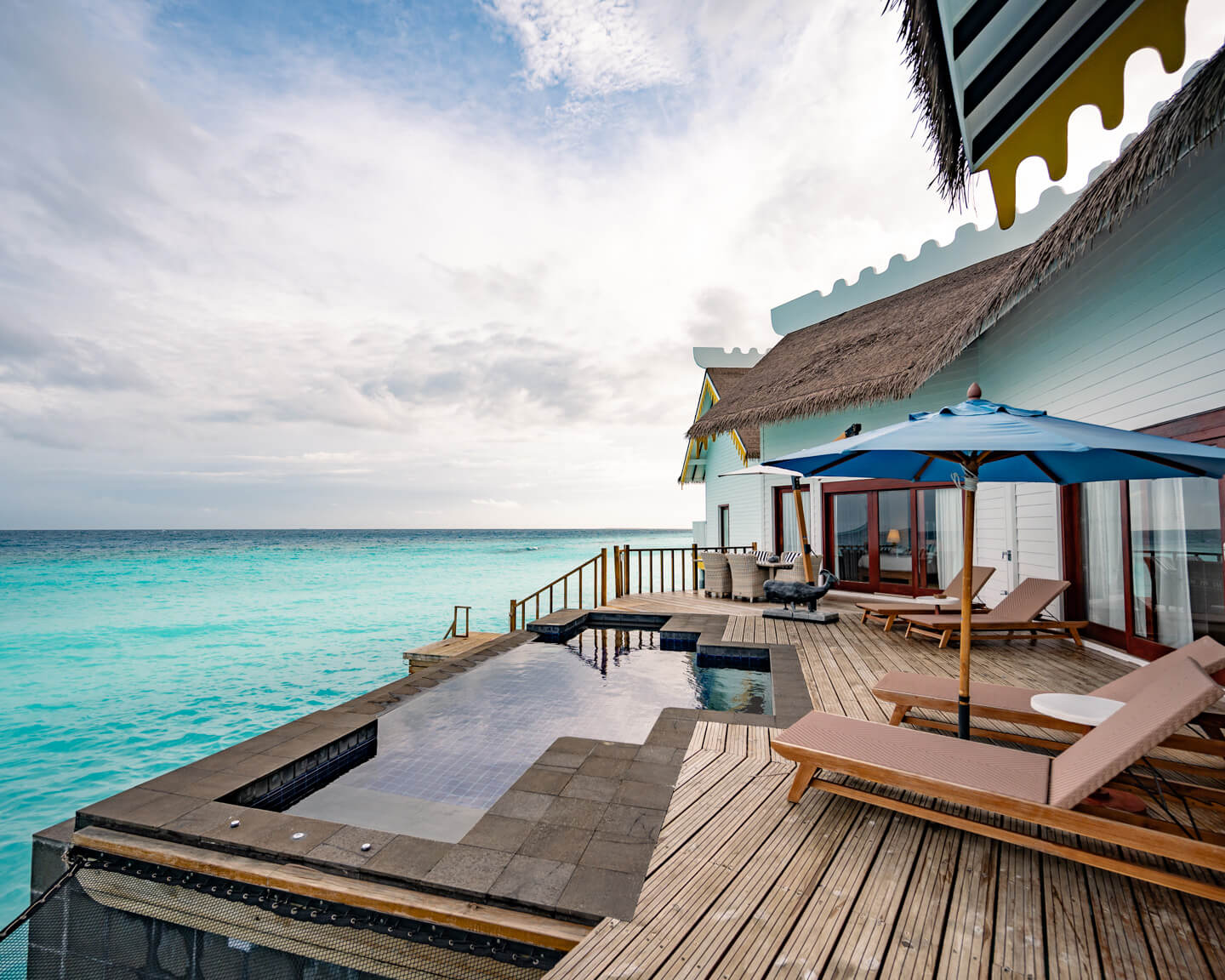 terrace with pool over the lagoon of the 2-bedroom overwater villa of the SAii Lagoon Maldives hotel