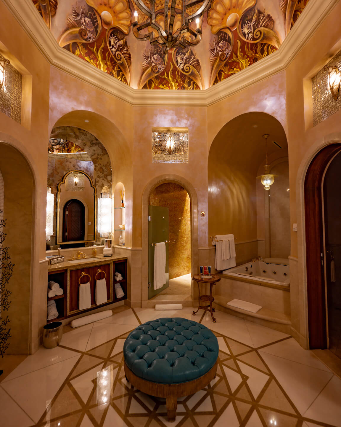Luxurious Hammam Style bathroom with gold and marble in the royal bridge suite of the Atlantis The Palm Dubai