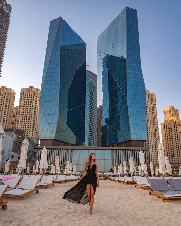 walking at the beach of The Rixos Premium Dubai
