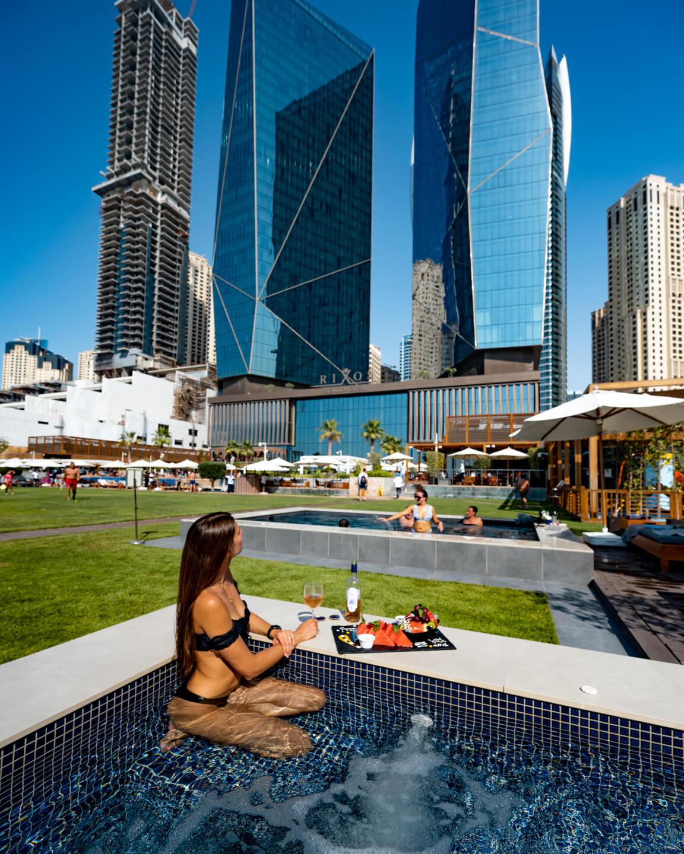 sitting in pool and looking at The Rixos Premium Dubai