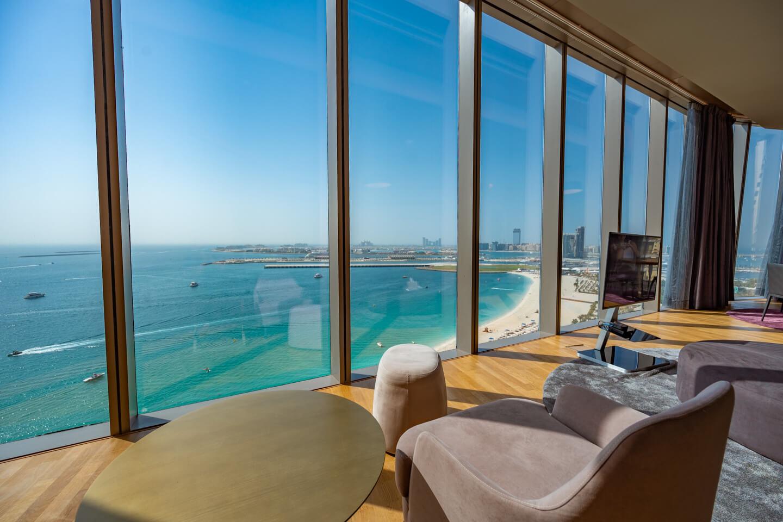 huge window with view over the Arabian gulf in Rixos Premium Dubai