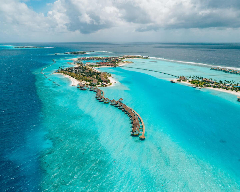 drone shot overlooking the SAii Lagoon Maldives