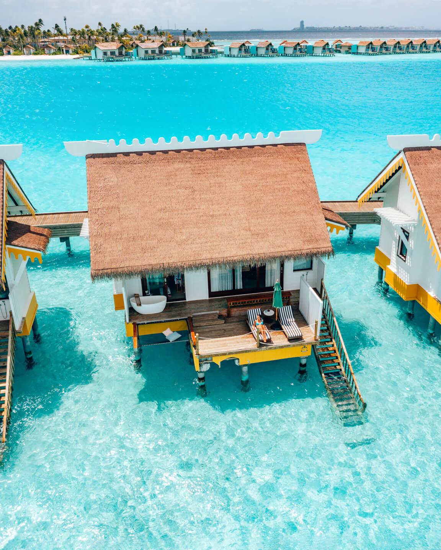 drone shot of a water villa at the SAii Lagoon Maldives hotel