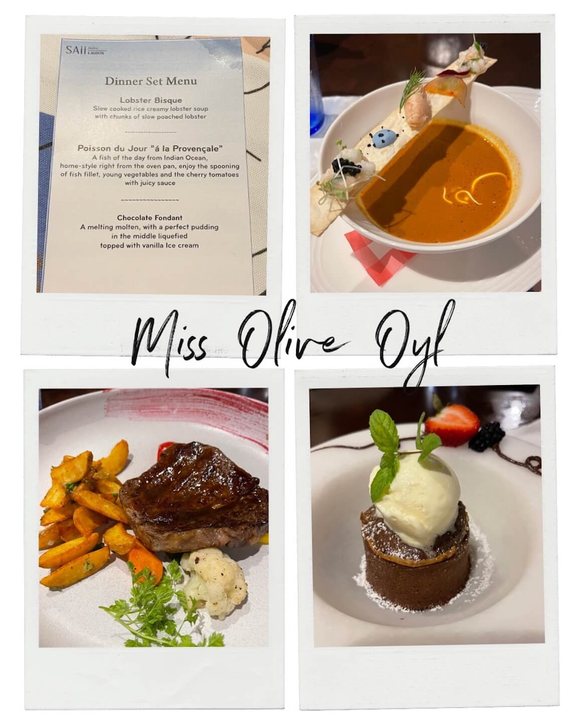 Compilation of different photos for dinner at the miss olive oil restaurant