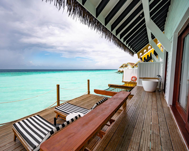 terrace of a water villa at the SAii Lagoon Maldives Hotel