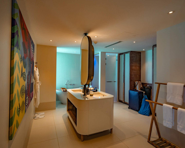 bathroom of our water villa at the hard rock hotel maldives