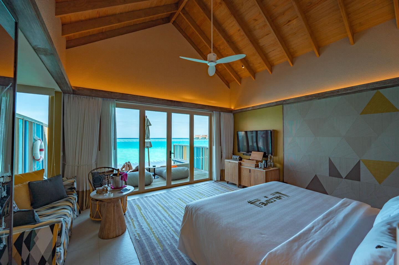 interior of the water villa with pool at the hard rock hotel maldives