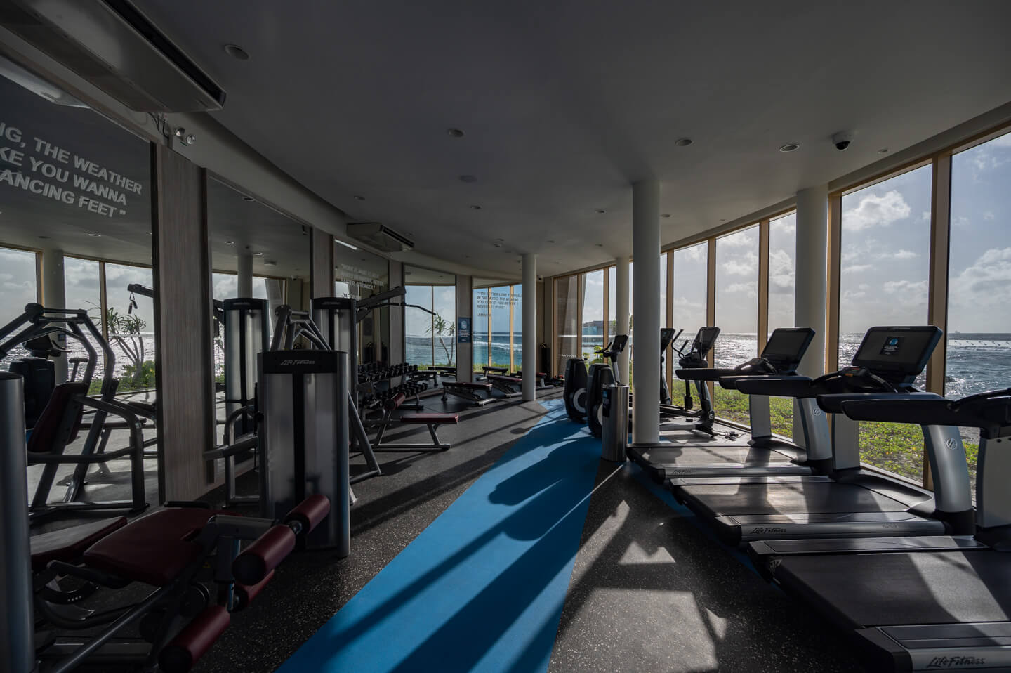 gym with sea view at the har rock hotel maldives