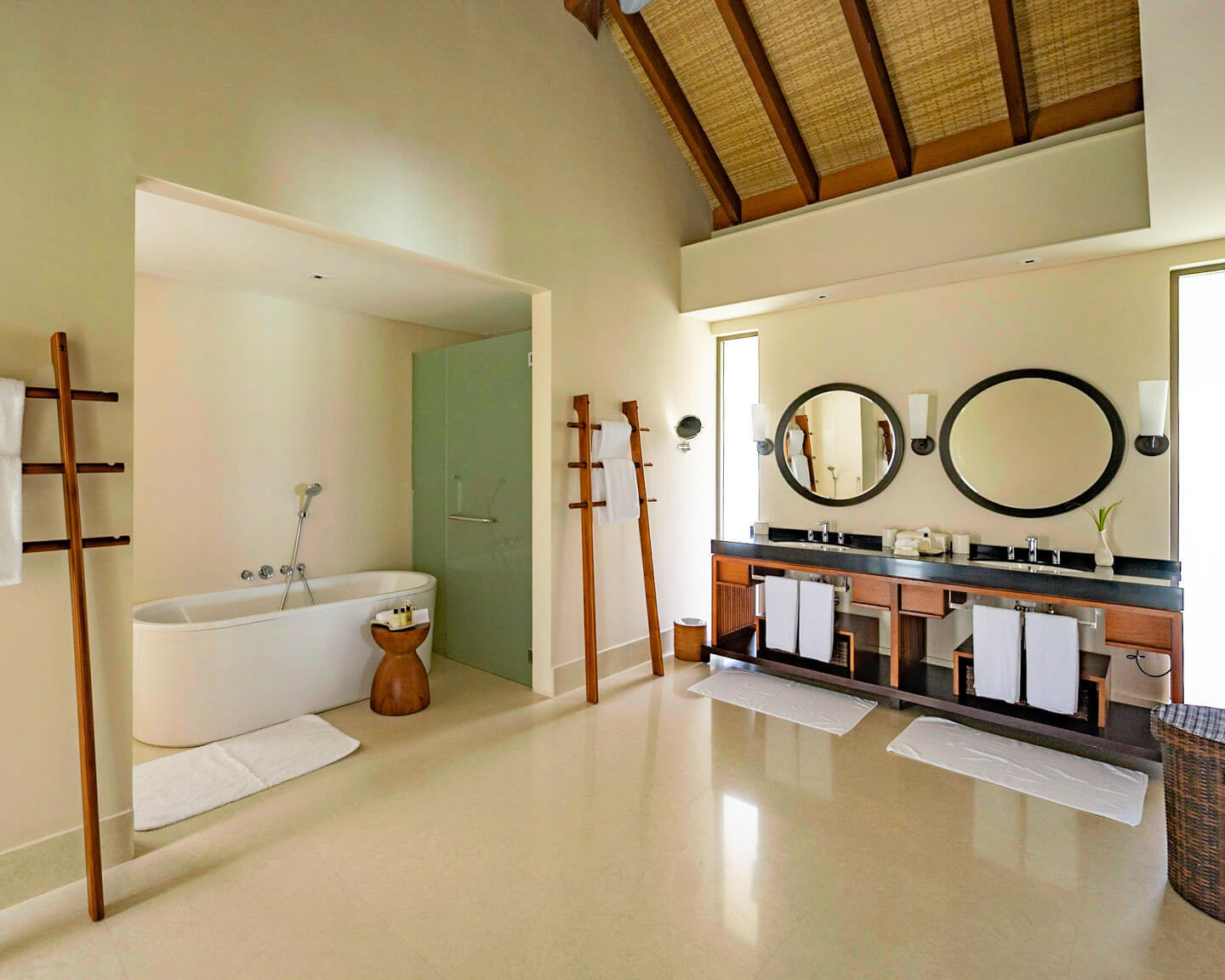 bathroom in a water villa at the residence maldives dhigurah