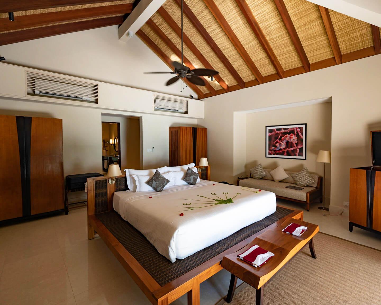 bedroom of the beach villa at the residence maldives dhigurah