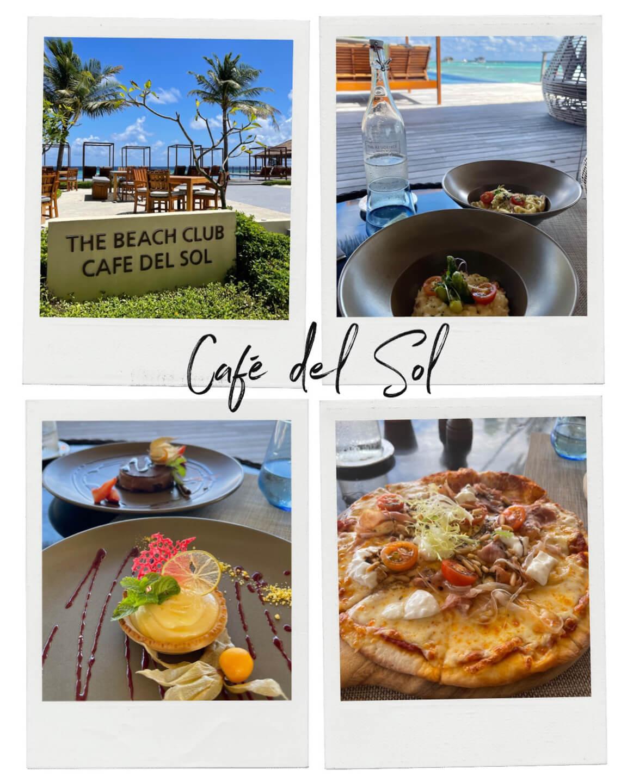 food at the cafe del sol beach bar