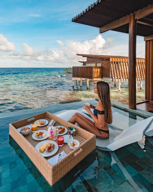 floating breakfast in a pool of the water villa at the Park Hyatt Maldives Hadahaa