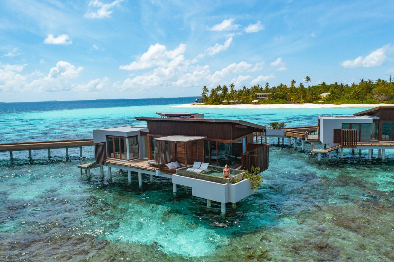 drone shot of a water villa at the Park Hyatt Maldives Hadahaa