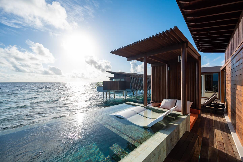 terrace of a water villa of the Park Hyatt Maldives Hadahaa