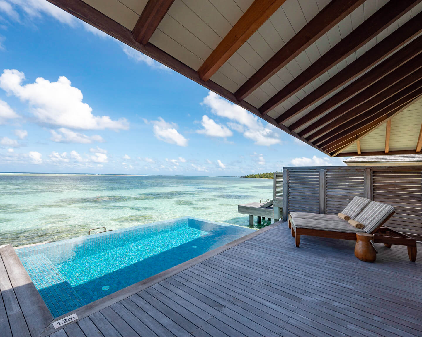 terrace with private pool overlooking the lagoon of the residence maldives dhigurah