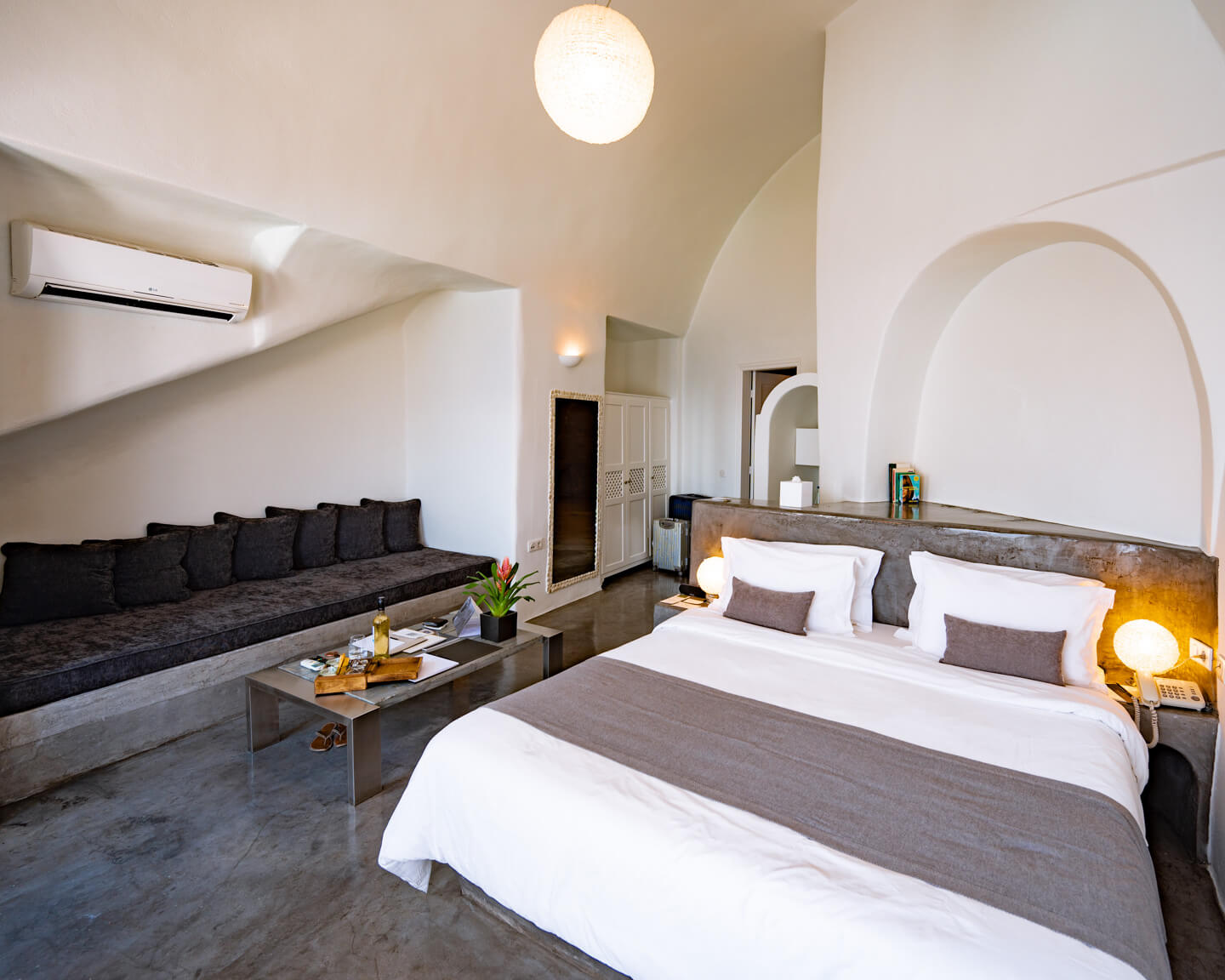 bedroom of the andronis boutique hotel santorini