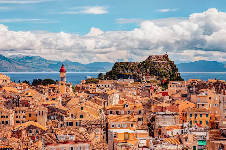 beautiful view of the old town in corfu, Greece
