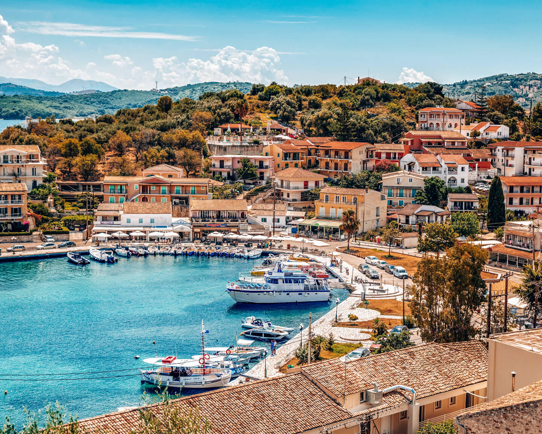 Kassiopi town in corfu, Greece