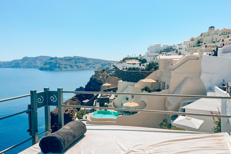 view over oia, santorini, greece