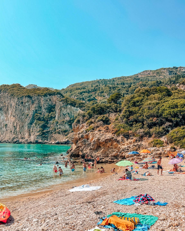 beautiful beach in Palaiokastritsa in corfu, Greece