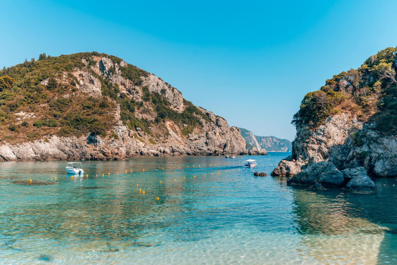 beautiful bay in Palaiokastritsa in corfu, Greece