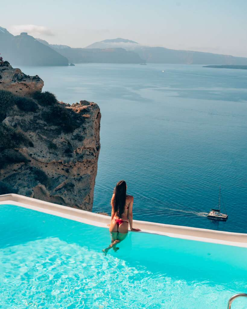 infinity pool view in Santorini, Greece