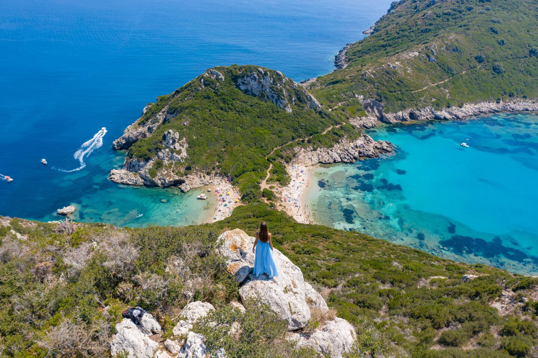drone view over the two beaches and bays of Porto Timoni in Corfu, Greece
