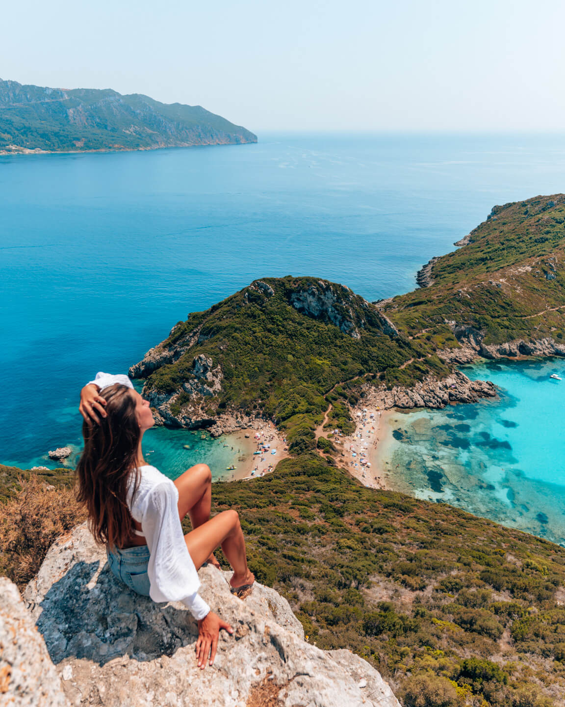 Spectacular view over the two beaches and bays of Porto Timoni in Corfu, Greece