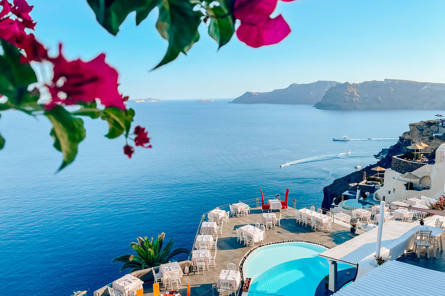 view over the andronis boutique hotel and the sea in santorini, greece